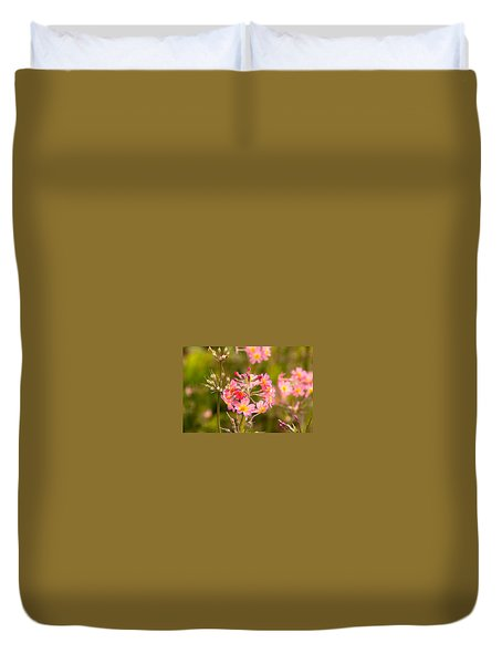 Pink Flowers In Scotland Duvet Cover