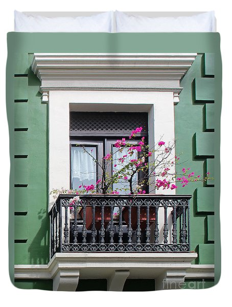 Pink Flowers On Balcony Duvet Cover