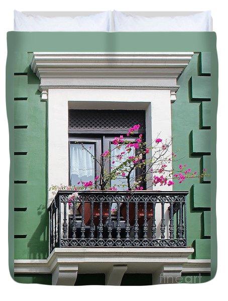 Pink Flowers On Balcony Duvet Cover by Cheryl Del Toro