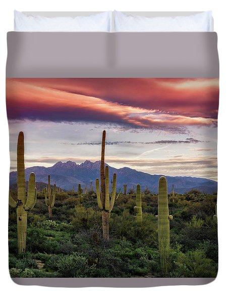 Duvet Cover featuring the photograph Pink Four Peaks Sunset  by Saija Lehtonen