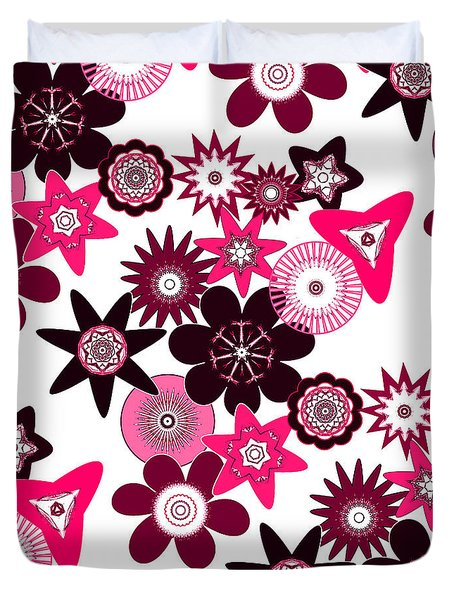Pink Funky Flowers Duvet Cover by Methune Hively