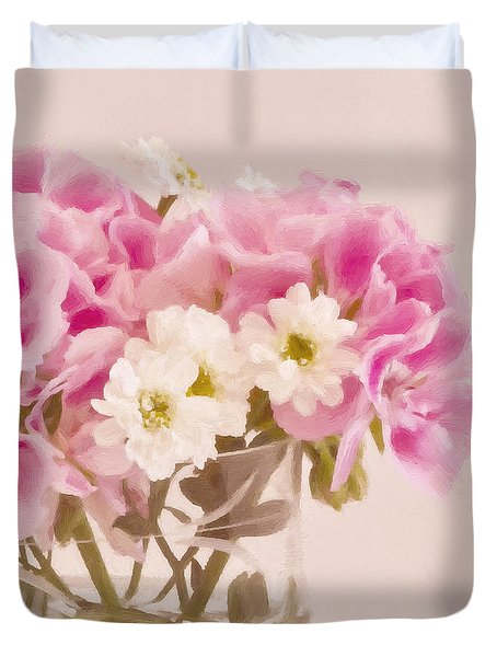 Pink Geraniums Duvet Cover by Sandra Foster