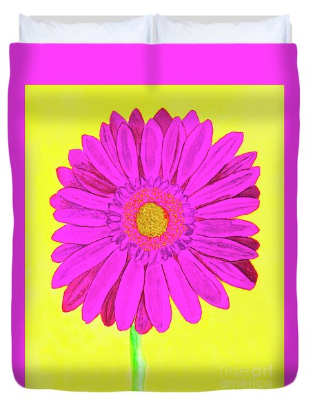 Pink Gerbera On Yellow, Watercolor Duvet Cover