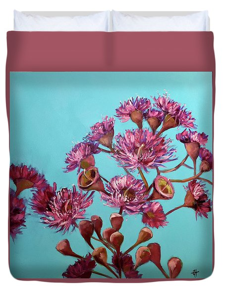 Pink Gum Blossoms Duvet Cover by Chris Hobel