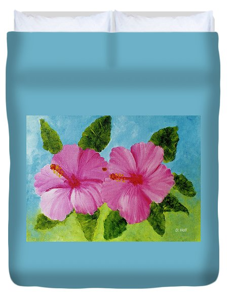Pink Hawaiian Hibiscus Flower #23 Duvet Cover by Donald k Hall