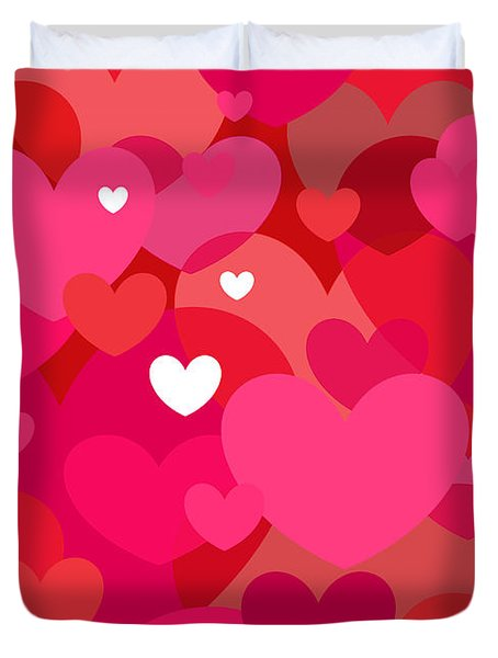 Pink Hearts Duvet Cover