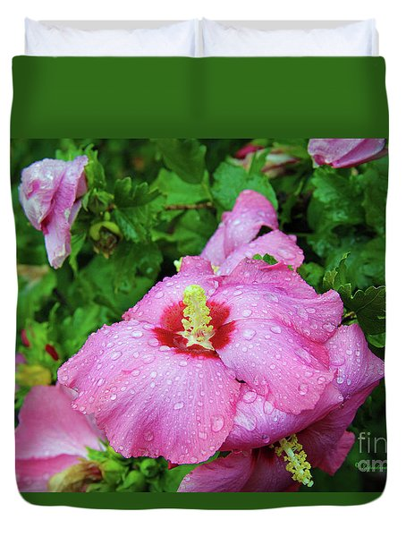 Pink Hibiscus After Rain Duvet Cover