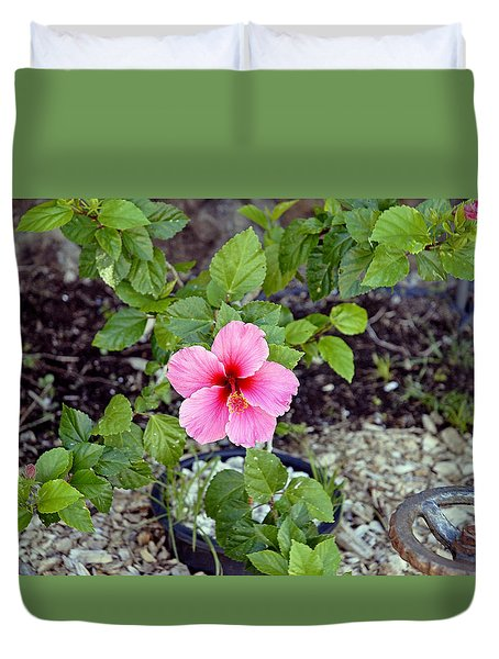 Pink Hibiscus And Wheel Duvet Cover