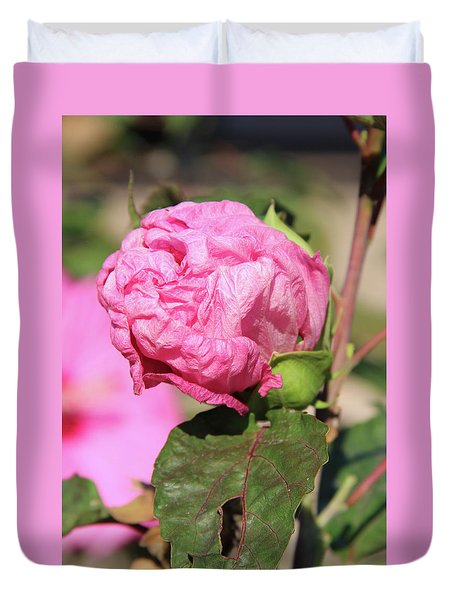 Pink Hibiscus Bud Duvet Cover