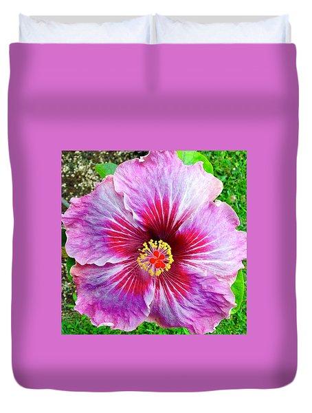 Pink Hibiscus Joyous Cosmology Duvet Cover