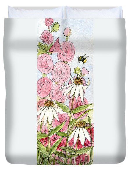 Pink Hollyhock And White Coneflowers Duvet Cover