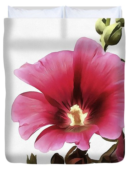 Pink Hollyhock Duvet Cover