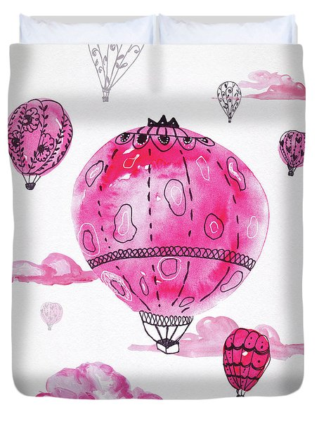 Pink Hot Air Baloons Duvet Cover