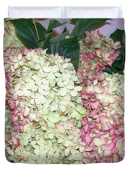 Duvet Cover featuring the digital art Pink Hydrangeas by Barbara S Nickerson