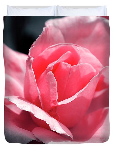 Pink In Light And Shadow Duvet Cover by Rebecca Davis