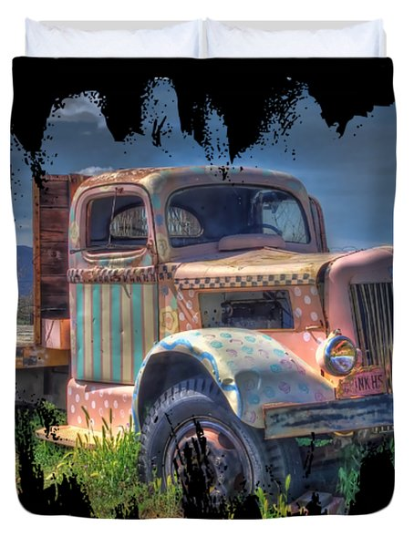 Duvet Cover featuring the photograph Classic Flatbed Truck In Pink by Thom Zehrfeld