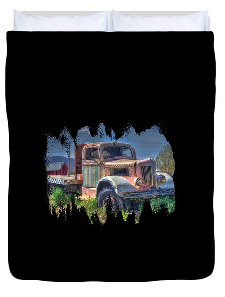 Classic Flatbed Truck In Pink Duvet Cover