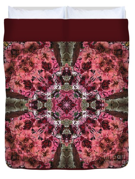 Duvet Cover featuring the digital art Pink Kaleidoscope by Smilin Eyes  Treasures