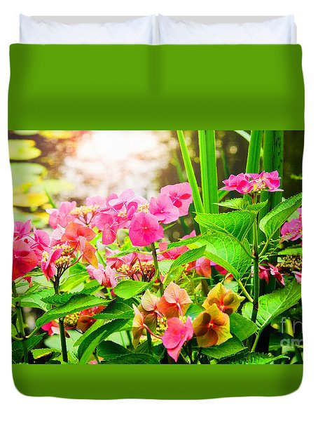 Duvet Cover featuring the photograph Pink Lace Cap Hydrangeas by MaryJane Armstrong
