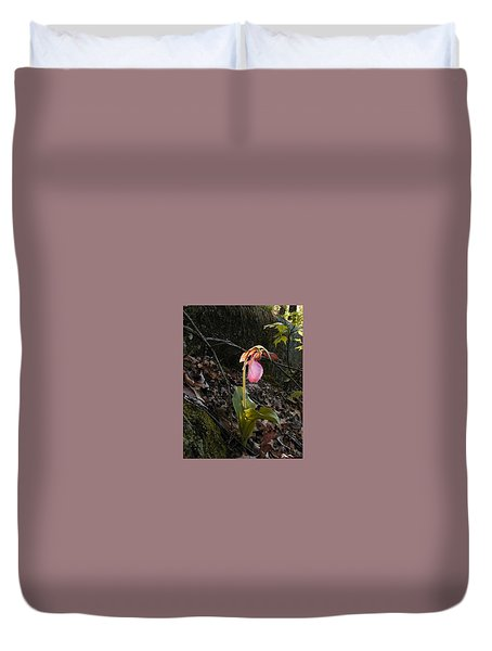 Duvet Cover featuring the painting Pink Ladies Slipper by Martha Ayotte