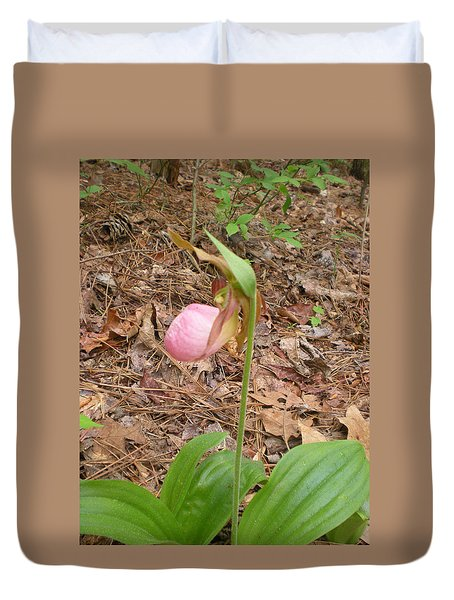 Duvet Cover featuring the photograph Pink Lady's-slipper by Linda Geiger