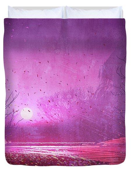 Pink Landscape Duvet Cover