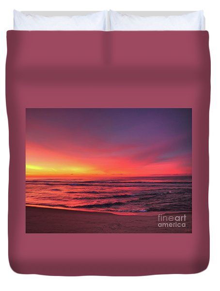 Pink Lbi Sunrise Duvet Cover