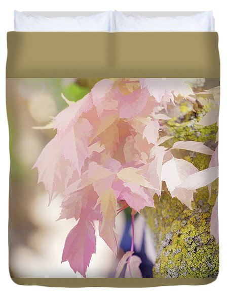 Pink leaf fantasy mixed media by terry davis for Why does my shower curtain turn pink