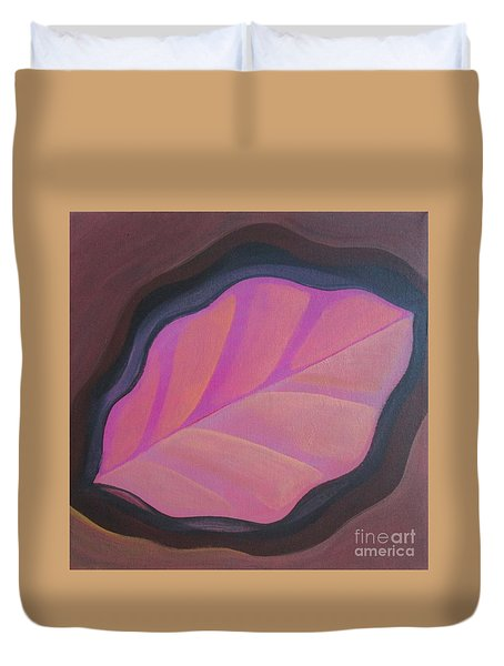 Pink Leaf Duvet Cover
