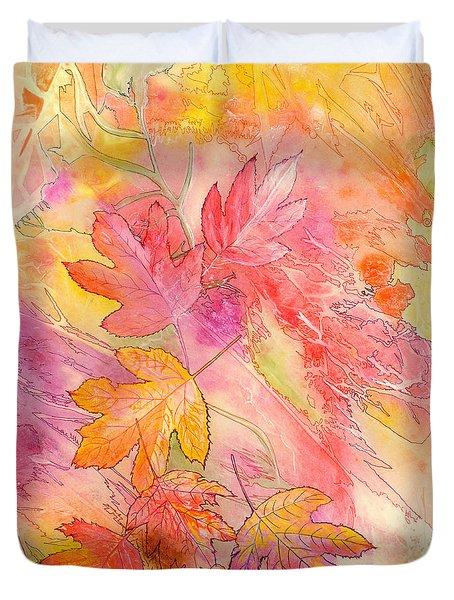 Pink Leaves Duvet Cover by Nancy Cupp