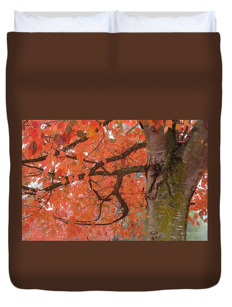 Pink Leaves Of Autumn  Duvet Cover