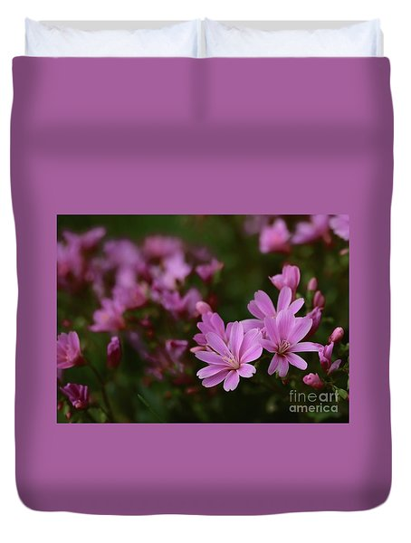 Duvet Cover featuring the photograph Pink Lewisia by Kenny Glotfelty