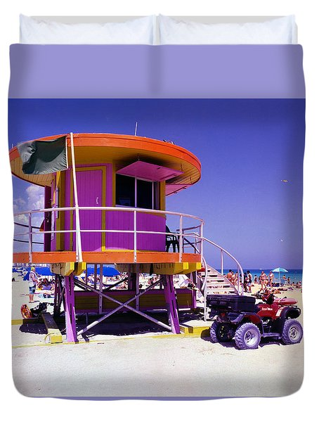 Pink Lifeguard Stand Duvet Cover