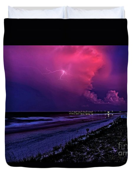 Pink Lightning Duvet Cover