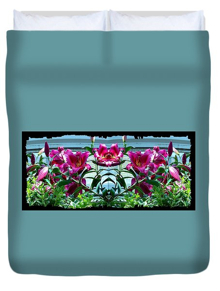 Pink Lilies Fusion Duvet Cover by Will Borden