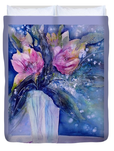Pink Lilies In Vase Duvet Cover