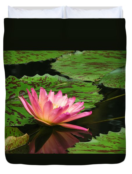 Pink Lily Reflection Duvet Cover