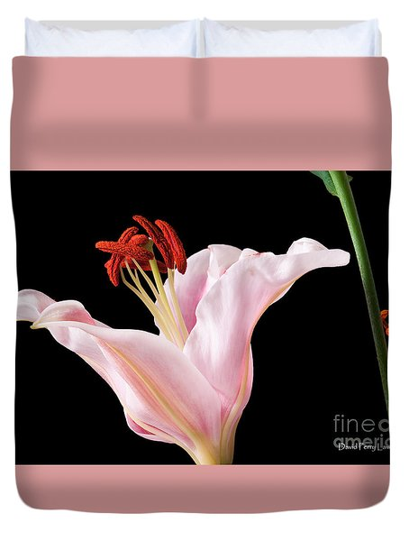 Pink Oriental Lily With Bright Red Pollen Duvet Cover