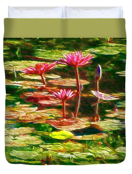Pink Lotus Flower 2 Duvet Cover by Lanjee Chee