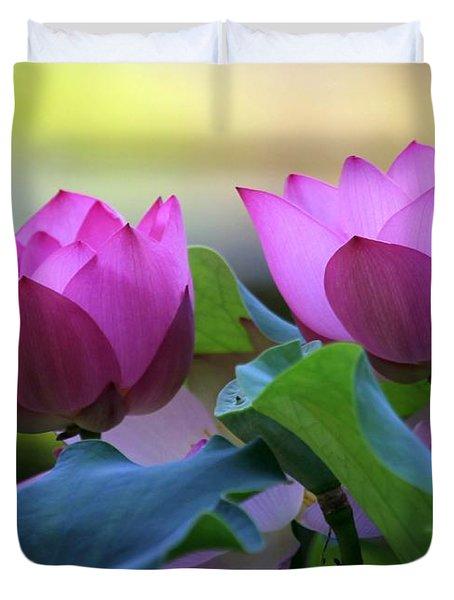 Pink Lotus Duvet Cover by Sabrina L Ryan