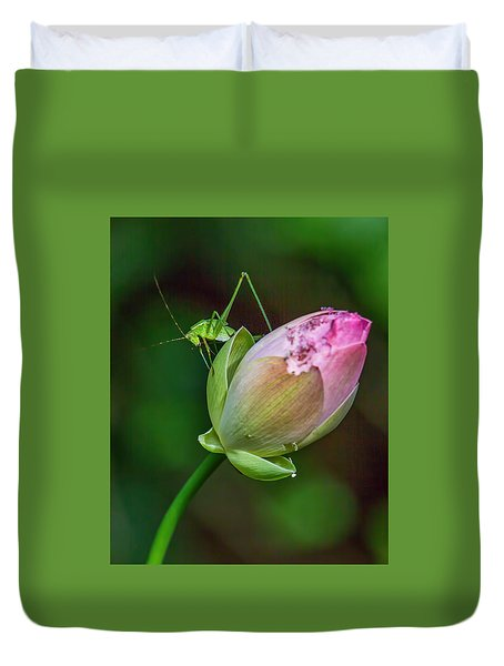 Duvet Cover featuring the photograph Pink  Lotus With Company by Susi Stroud