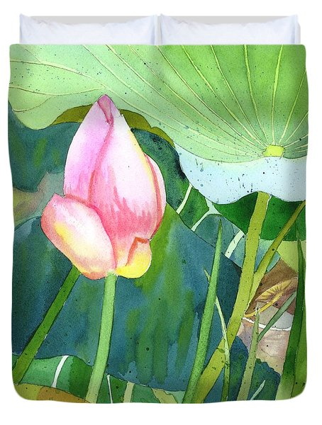 Pink Lotus Duvet Cover by Yolanda Koh