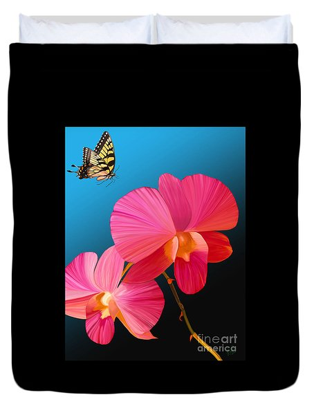 Duvet Cover featuring the painting Pink Lux Butterfly by Rand Herron