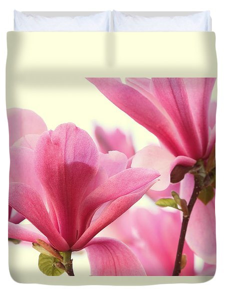 Pink Magnolias Duvet Cover by Peggy Collins