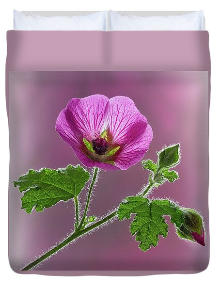 Pink Mallow Flower Duvet Cover