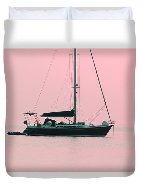 Duvet Cover featuring the photograph Pink Mediterranean by Richard Patmore