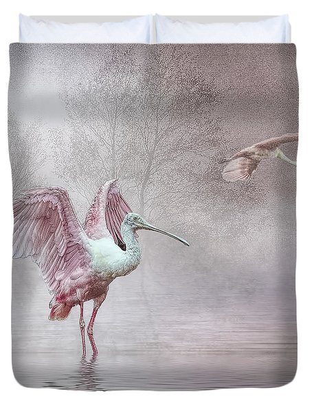 Duvet Cover featuring the photograph Pink Mist by Brian Tarr