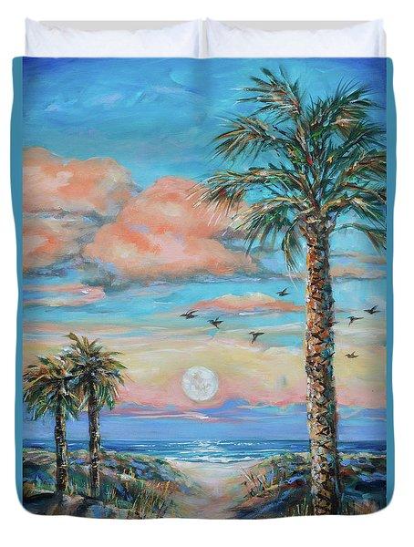 Pink Moon Rise Duvet Cover by Linda Olsen