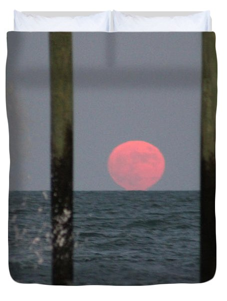Pink Moon Rising Duvet Cover