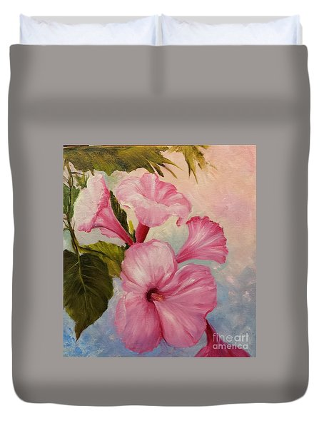 Pink Morning Glories Duvet Cover